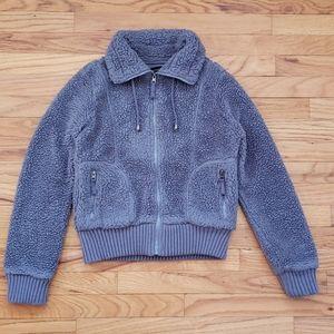 Coffeeshop - Sherpa Faux Fur Gray Zip Lined Coat